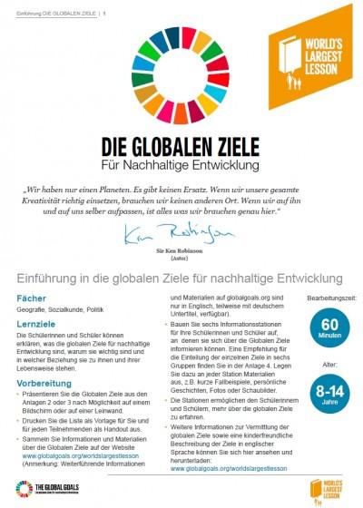 Einführung in die globalen Ziele für nachhaltige Entwicklung II